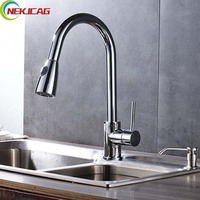 New Design Chrome Finish Pull Out Single Handle Single Hole Kitchen Faucet