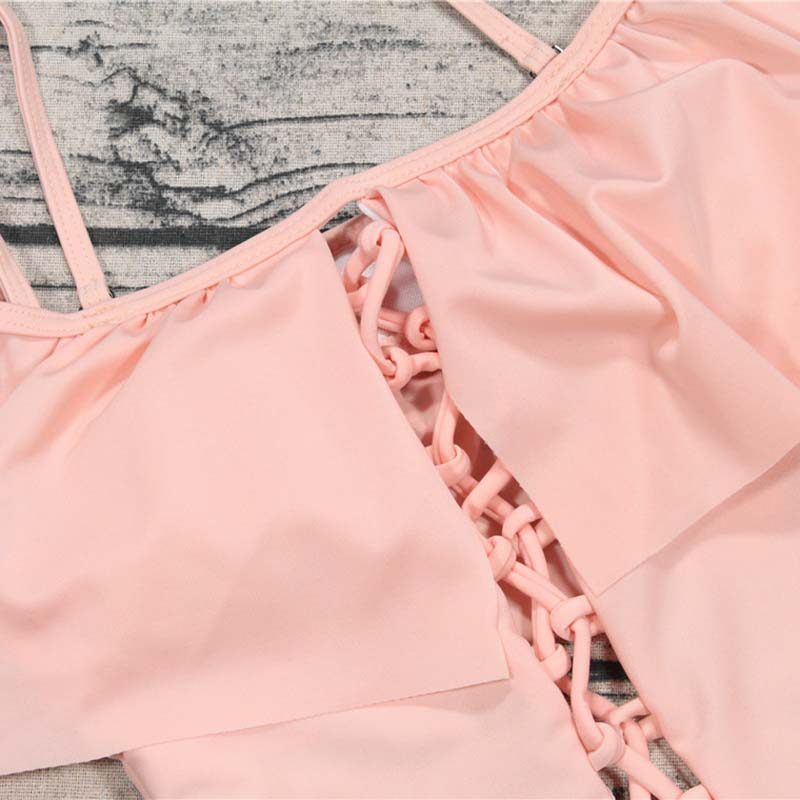 Women One Pieces Swimsuit Halter Beach Wear Bandage Bathing Suit Ruffle Monokini Swimwear YS-BUY 4