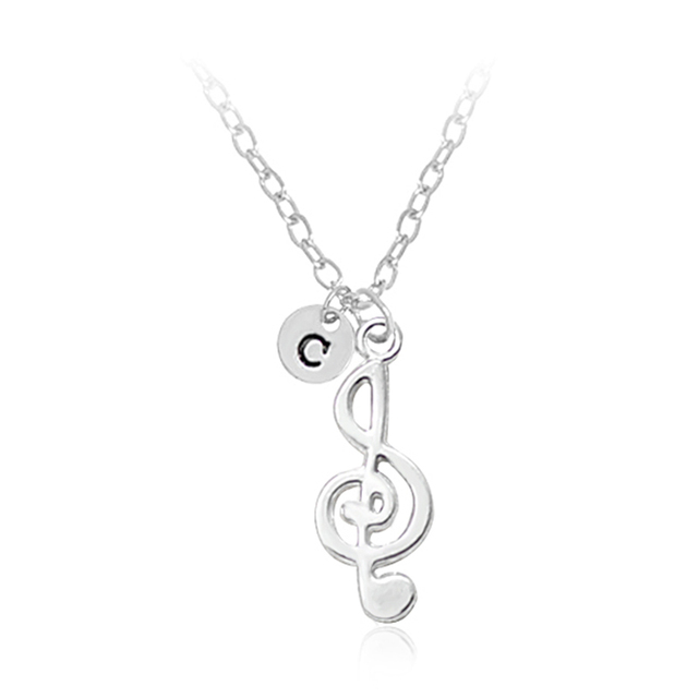 US $0 99 20% OFF|26 Letters Delicate Musical Note Pendant Necklace Women  Love Music Rhythm Note Symbol Charm Alloy Choker Necklaces-in Chain  Necklaces