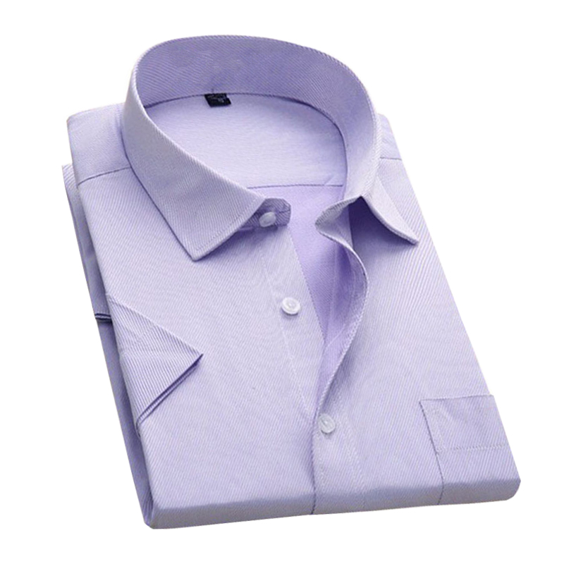 Big Size 4XL 2017 New Summer Men Shirts Short Sleeve Men's Slim Fit Solid Color Mens High Quality Business&Casual Shirt YN386