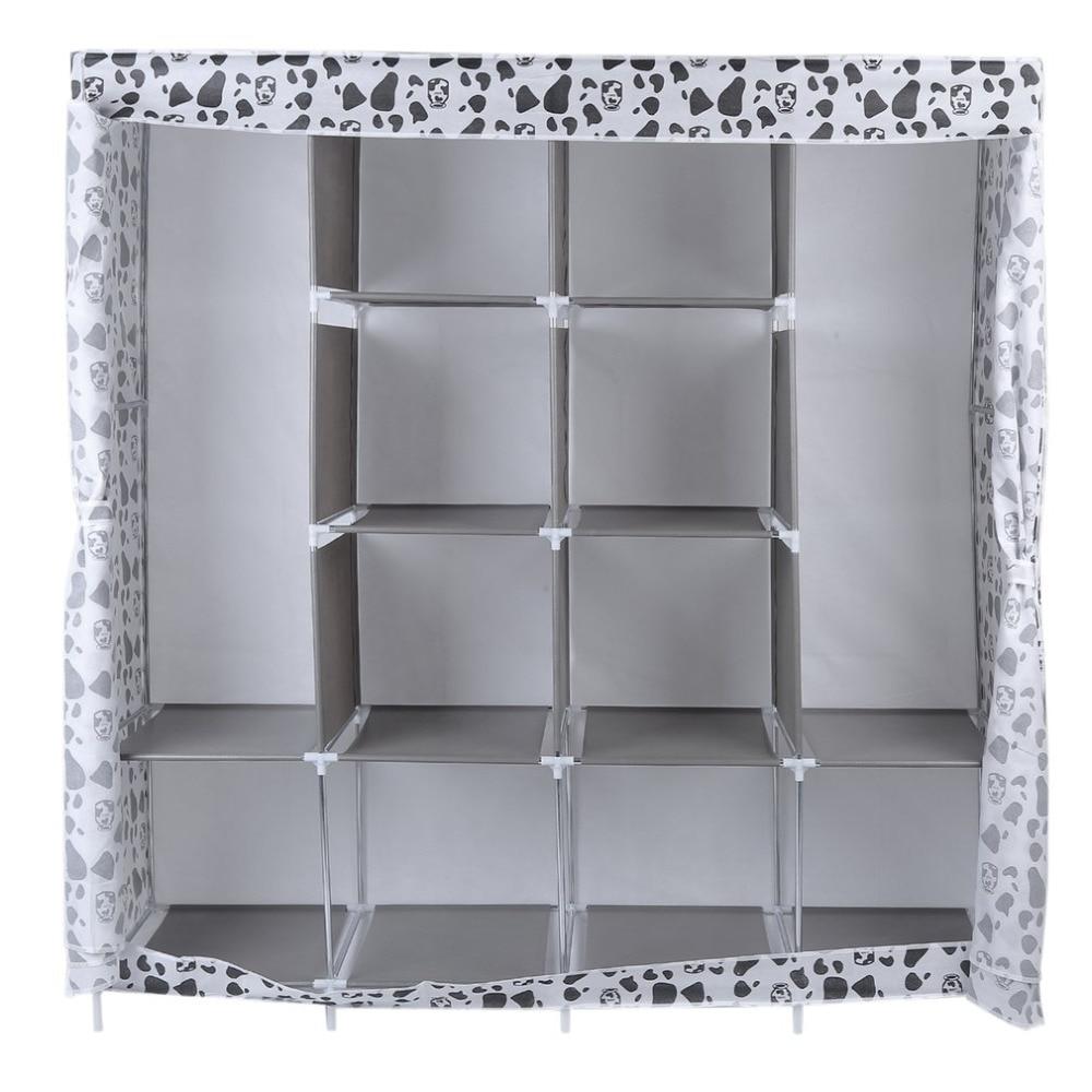 Multi-compartment Household Modern Simple Non-Woven Anti-dust Wardrobe Clothe Storage Garderobe Cabinet Closet 170*167*39cm Hot