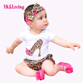 Leopard Baby Romper Set Newborns 2016 Summer Cotton Short SleeveBodysuit + Pants + Headband Ruffles Baby Girl Clothing Sets
