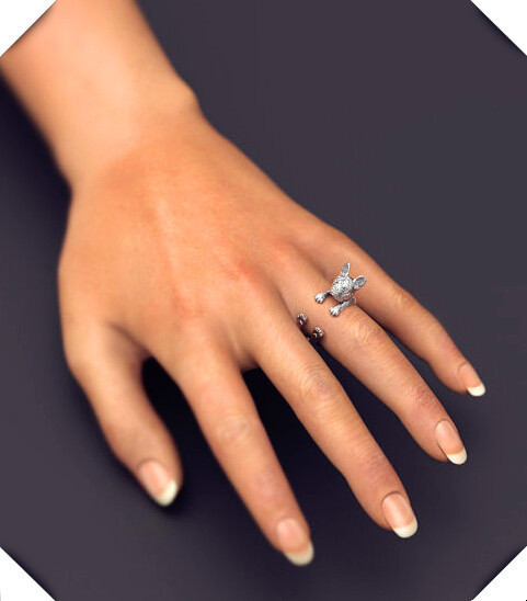 Фото оптовая продажа 12 шт/лот кольцо французского бульдога свободного