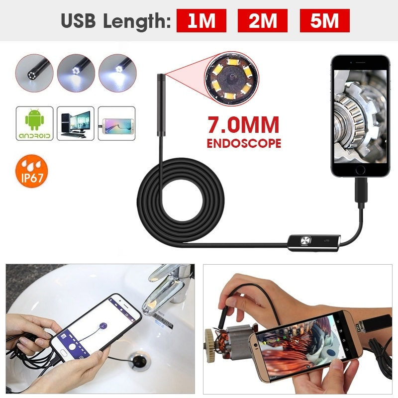 Partol 1M 2M 5M 7mm Lens USB Cable Mini Rigid Inspection Camera Snake Tube Waterproof Endoscope Borescope For Android Phone