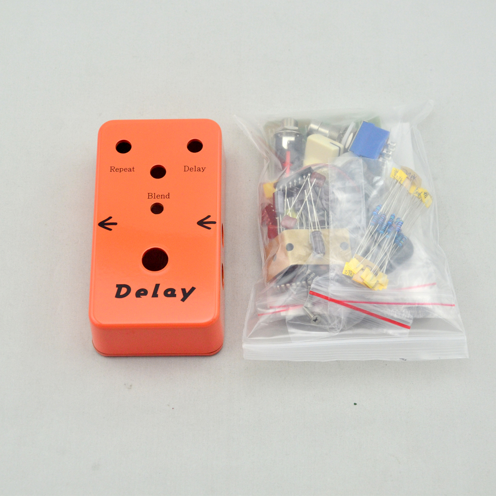 Make Your Delay Effect Pedal All Kit True Bypass With 3PDT 9PIN Foot Switch AND 1590B mooer ensemble queen bass chorus effect pedal mini guitar effects true bypass with free connector and footswitch topper