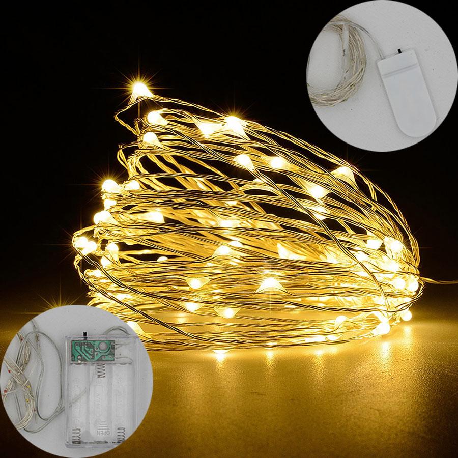 HANMIAO 2M/3M/5M/10M/100 Led String Lights Copper Wire Battery Powered Festoon Led Light Christmas Wedding Party Fairy Light