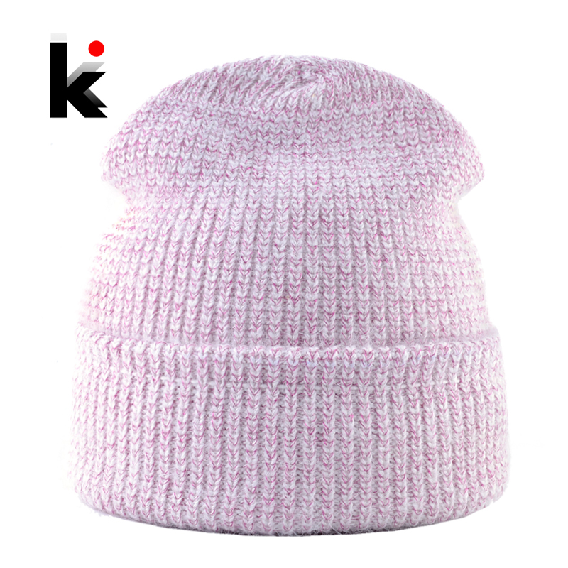 Fashion Winter Beanie Women Solid Color Knitted Shinning Line Hat For Girls Warm Double Lining Skullies Beanies Ladies Knit Cap
