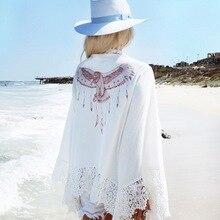 Chiffon Beach cover up Crochet Womens Beachwear Swimsuit Cover Swimwear Dress robe plage Pareos