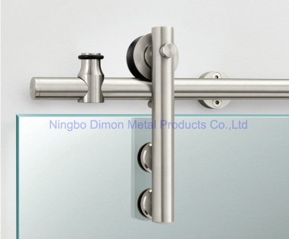 Free Shipping Dimon America Style Hot Sell Stainless Steel 304 Polish Glass Sliding Barn Door Hardware DM-SDG 7008 Without Bar