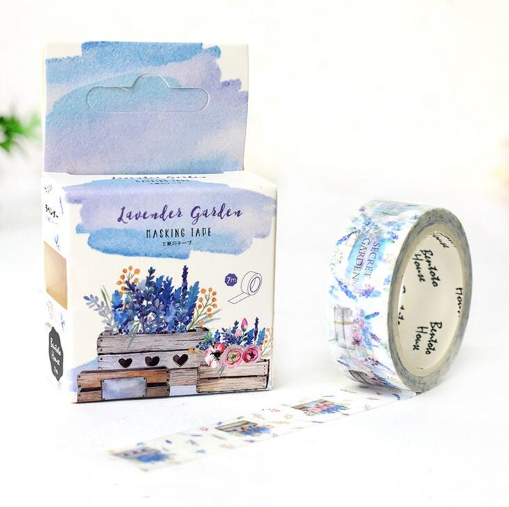 JF317 Garden of Lavender Decorative Washi Tape DIY Scrapbooking Masking Tape School Office Supply Escolar Papelaria the stripes of gradient color decorative washi tape diy scrapbooking masking tape school office supply escolar papelaria