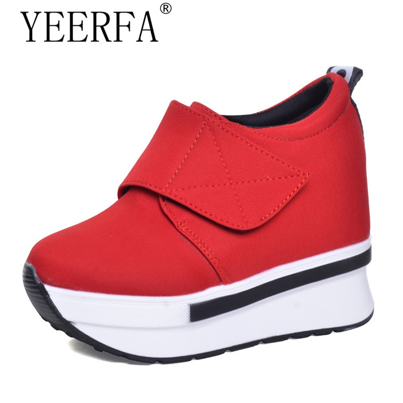 YIERFA  Wedges Women Boots 2017 New Platform Shoes Woman Creepers Slip On Ankle Boots Fashion Casual Women Shoes 35-39 EUR