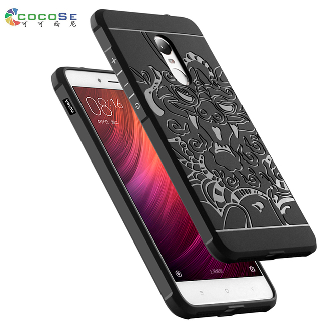 competitive price 76e95 4bbec US $9.69 |Xiaomi Redmi Note 4 Silicon case Note4 Pro back cover 3d carved  dragon black tpu phone coque for Redmi Note 4X fundas anti knock-in Flip ...