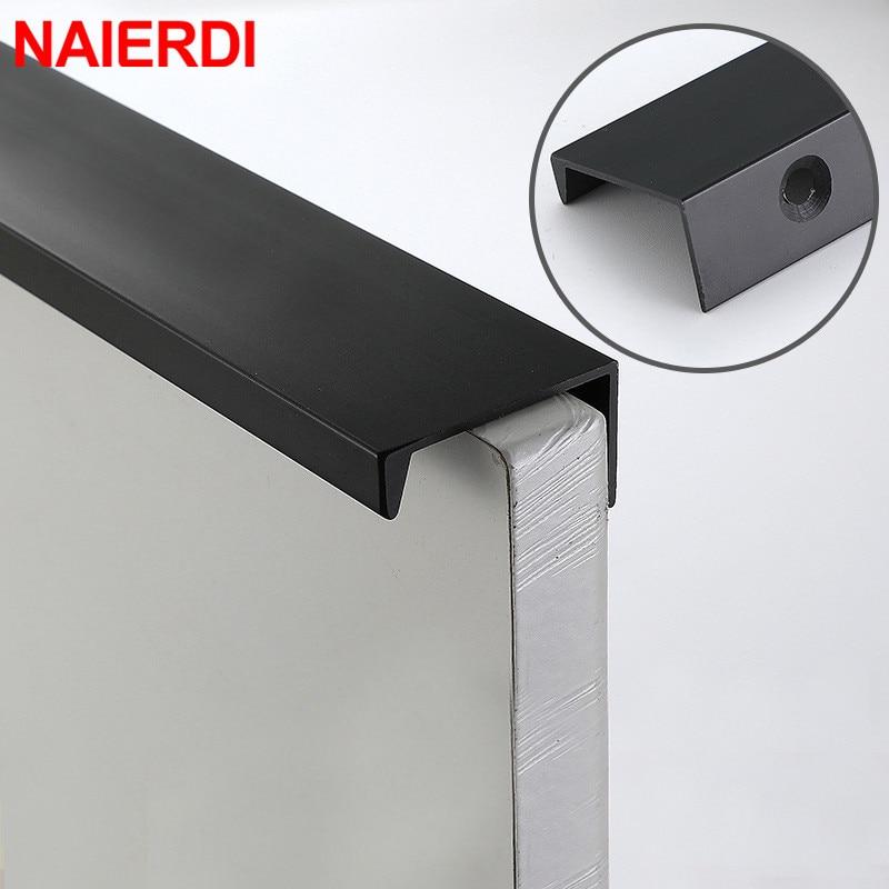 NAIERDI Black Hidden Cabinet Handles Aluminum Alloy Kitchen Cupboard Pulls Drawer Knobs Furniture Handle Bedroom Door Hardware