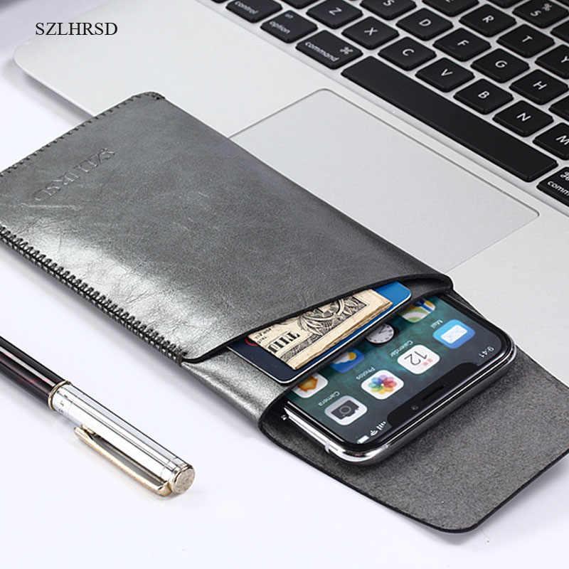 SZLHRSD para OnePlus 6 funda de manga súper delgada, funda de teléfono de microfibra stitch para Huawei Y6 Prime 2018 Bluboo S3
