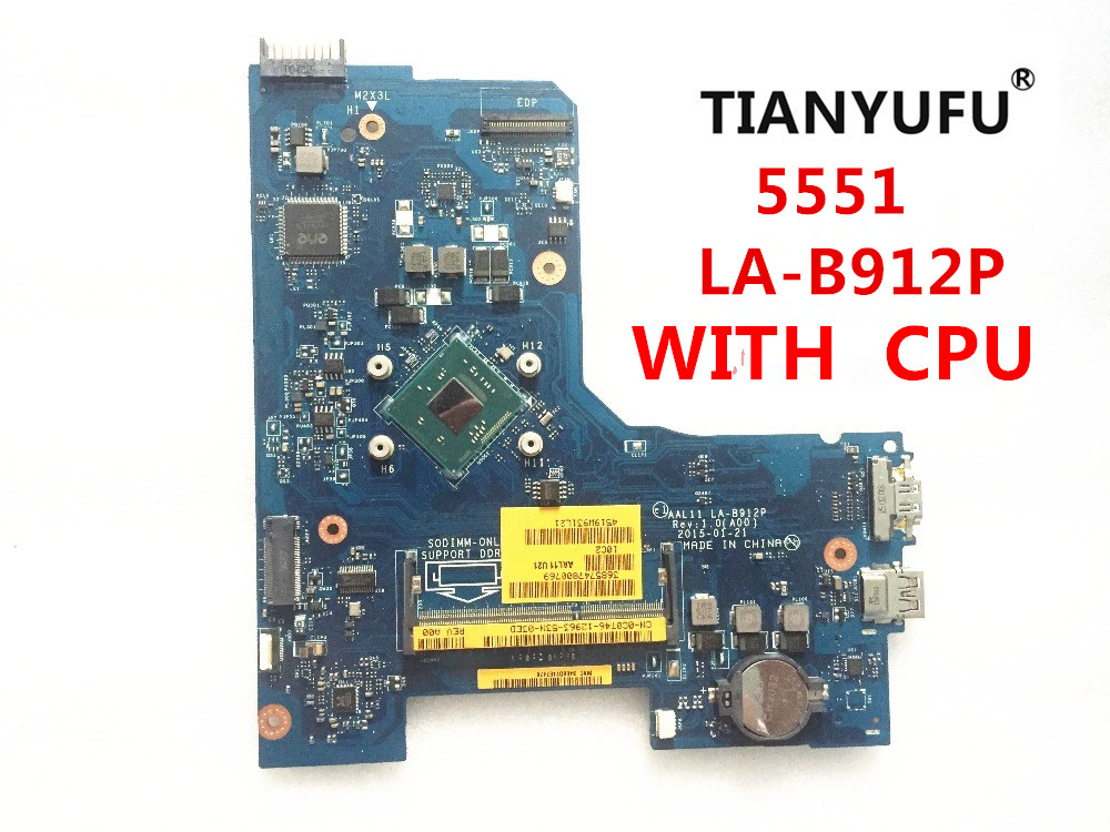 FOR DELL INSPIRON 15 5551 laptop motherboard AAL11 LA B912P REV 1 0 A00 with cpu