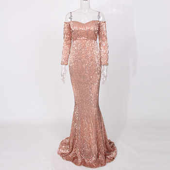 Sexy Sequin Dresses Slash Neck Champagne Gold Sequined Maxi Dress Full Sleeves Floor Length Party Dress Gown