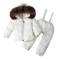 Winter Suits For Boys Girls Nature Fur Ski Suit Children Clothing Set Baby Duck Down Jacket Coat + Overalls Warm Kids Snowsuit