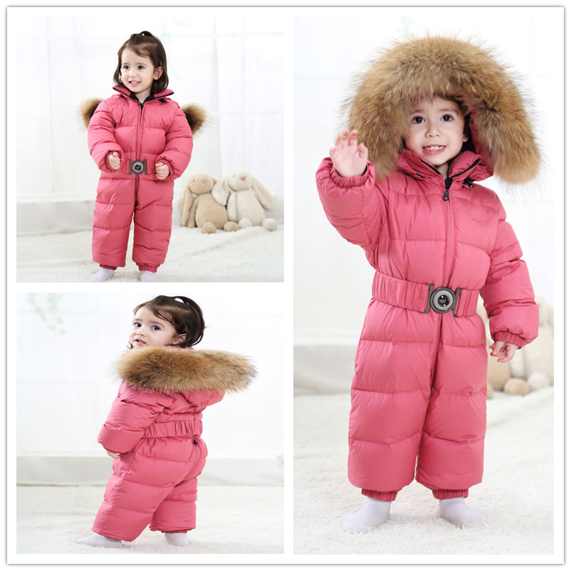 Winter Children 90% White Duck Down Rompers Boys Big Natural Fur With Hooded Clothes Girls Thicken Jumpsuit 2-6y Kids Snow Suit
