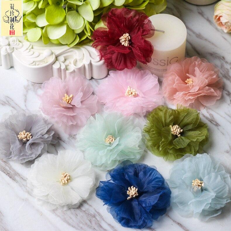 New Korean Ultra Fiber Chiffon Flower Diy Garment Hairdressing Flower Accessories