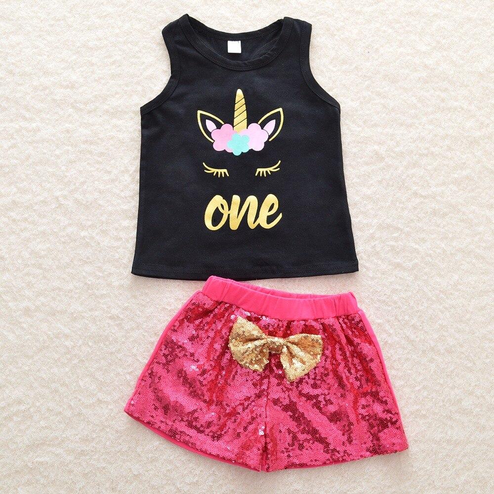 2018 Новая летняя детская одежда оптовая продажа мультфильм жилет с цветочным рисунком блестки Луки костюм детская одежда для девочек