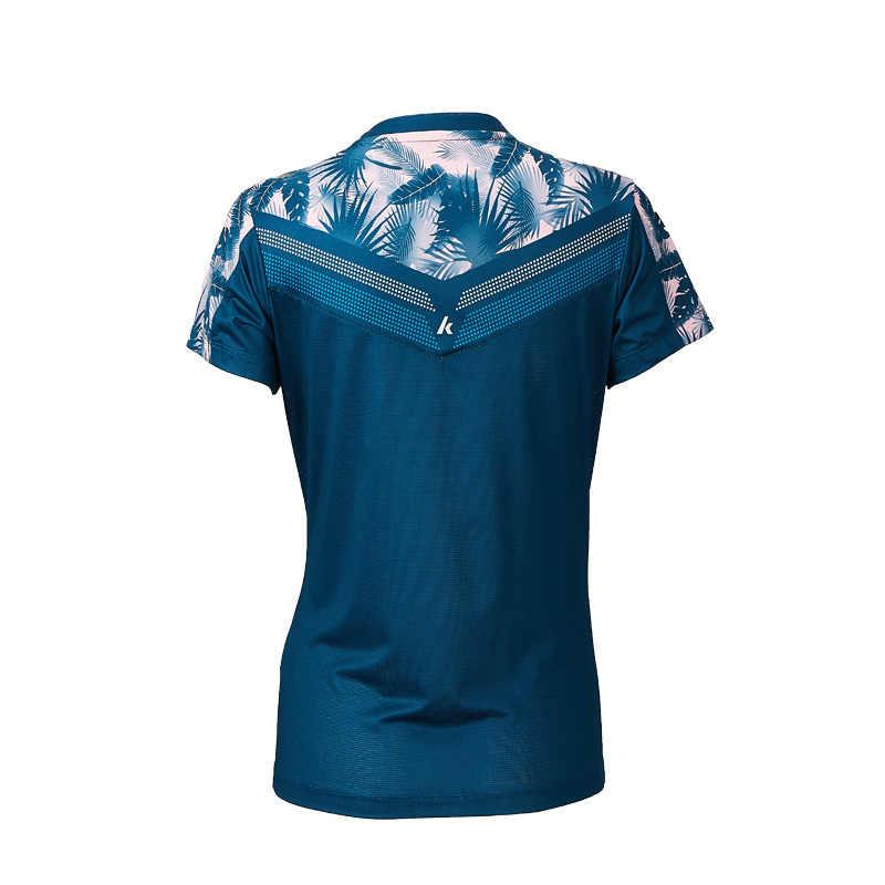2019 Kawasaki バドミントンスポーツウェア tシャツ女性 V ネック通気性の青色テニススポーツ Tシャツ ST-S2110