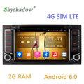 SKYSHADOW 2DIN Quad Core Android 6.0 dvd-плеер Автомобиля Для VW TOUAREG 2002-2011 T5 Multivan GPS WI-FI Bluetooth Радио 2 Г RAM 16 Г ROM