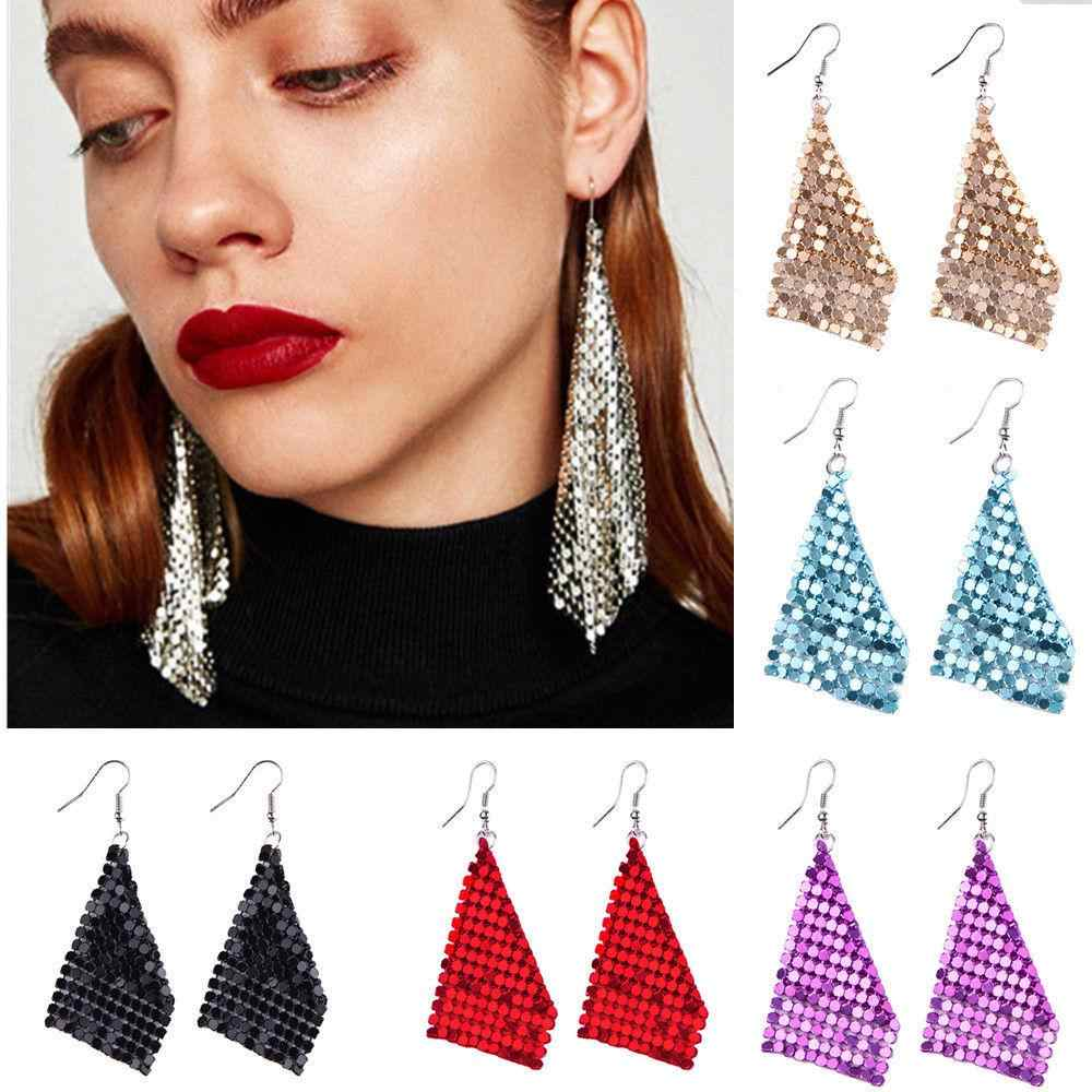2019 Trendy Creative Acrylic Long Studs Dangle Earrings for Women Sequins Tassel Drop Earring Fashion Jewelry Gifts New Arrivals