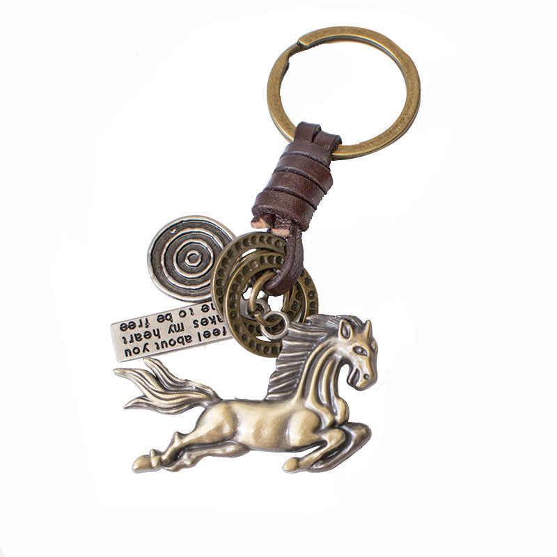 Chave de couro esportes cadeia anchor corrente de metal Chave/anel jóias cavalo porco bonito relógio handmade de 100% couro genuíno da gota grátis