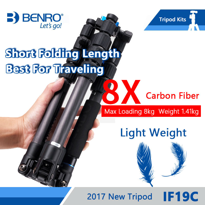 Benro IF19C Tripod Carbon Fiber Portable Travel Tripods For Camera Reflexed Monopod 5 Section Carrying Bag