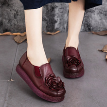 Original national wind handmade leather shoes 2016 new winter shoes deep mouth leather flat low heels shoes