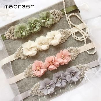 Mecresh Cute Simulated Pearl Crystal Wedding Belt for Bridal Gown Lovely Chiffon Flower Bridesmaid Dress Belt Accessories YD005