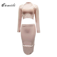 CIEMIILI 2017 Hollow Out Stand Solid Women Bandage Dress Two Sets Full Sleeve Apricot Red Black