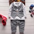 new 2016 spring fashion 3Pcs Baby Clothes Sets Infant Boy Gray Waistcoat+Pants+Plaids Shirts Outfits  101#