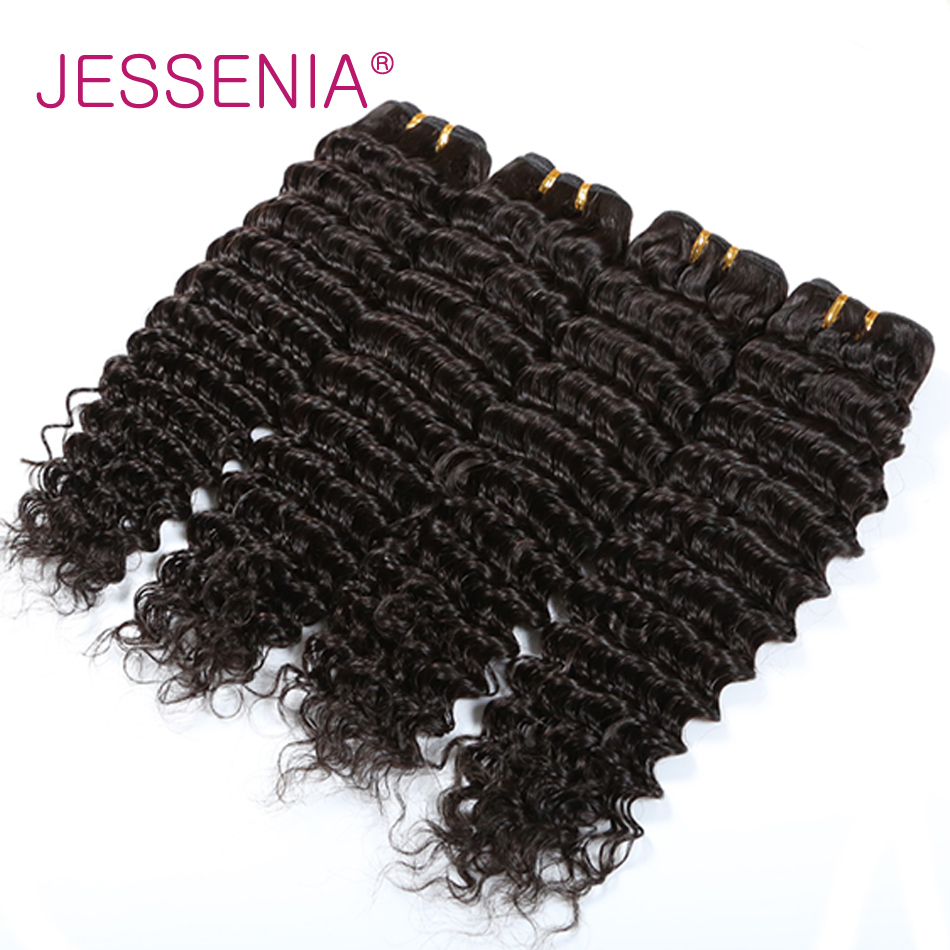 JESSENIA HAIR Indian Deep Wave Hair 4Bundles Non Remy Human Hair Extensions Weave Bundle Deals 8-26 Inches No Shedding No Tangle