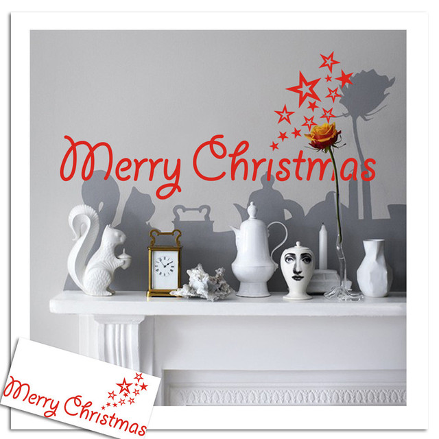 Merry christmas wall stickers art removable home vinyl window stickers merry christmas alphabet cards xmas decoration