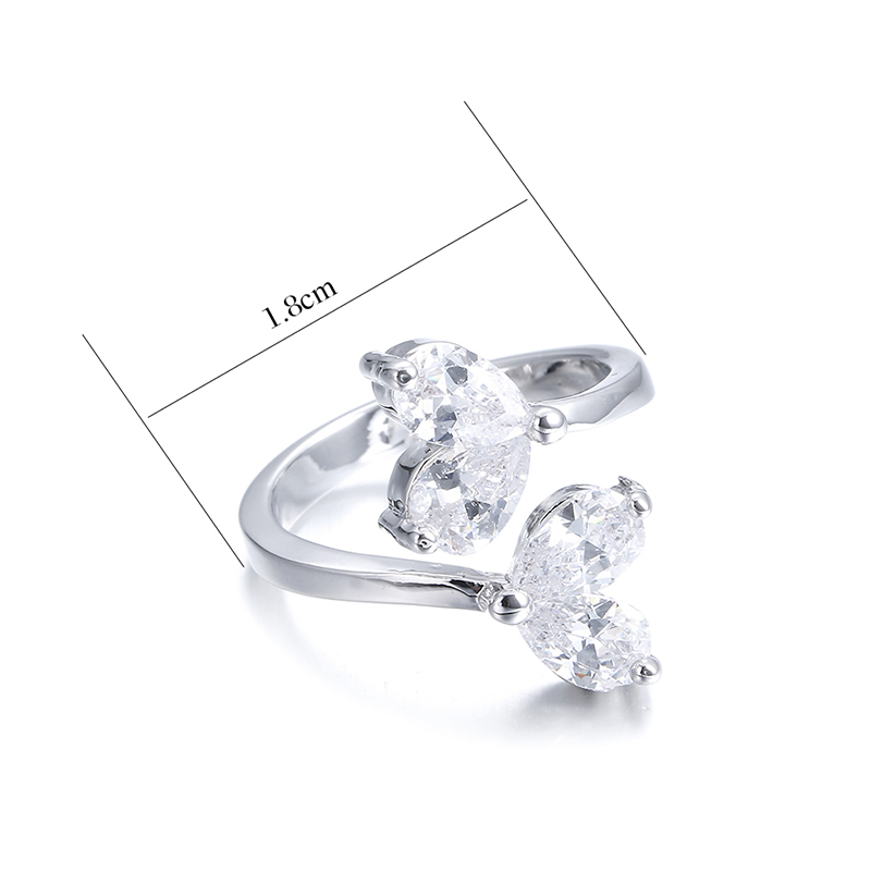 Fashion ice flower shiny cz zircon 925 sterling silver ladies adjustable size rings jewelry gift drop shipping female open ring in Rings from Jewelry Accessories