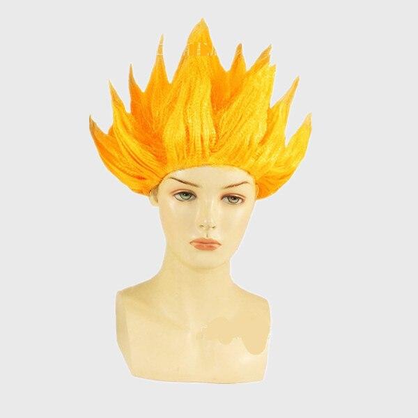 2018 New Goku Cosplay Wigs Dragon Balls Super Saiyan Blue Black Yellow Goku Peluca Anime Men Adult Women Hair Flame Wigs