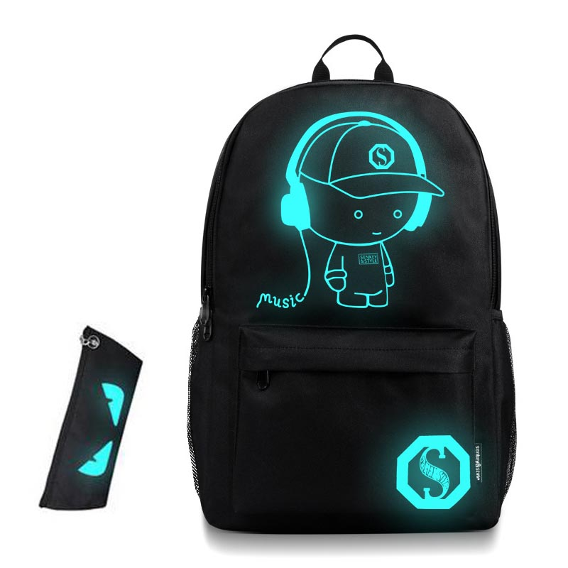 New Arrival 2017 Nightlight Children School Backpack Wich Pencil Case Anime Luminous School Bags For Boy