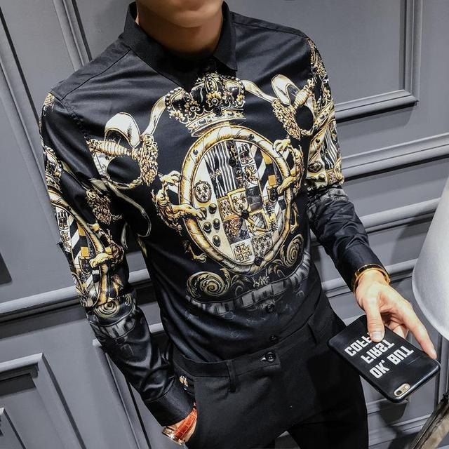 Black Gold Print Shirt 2019 New Baroque Slim Fit Party Club Shirt Men Camisa Homem Male Long Sleeve Shirt Oversize 4XL Hip Hop