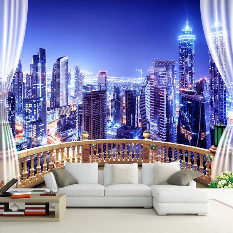 Custom 3D Photo Wallpaper Window City Night View Large Murals Wall Painting Wall Papers Home Decor Living Room Bedroom Modern beibehang custom 3d wall paper murals living room bedroom children room rocket cartoon hand painted blue space home decor