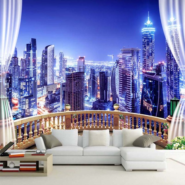 Custom Photo Wallpaper Window City Night View Large Murals Wall Painting Papers Home Decor