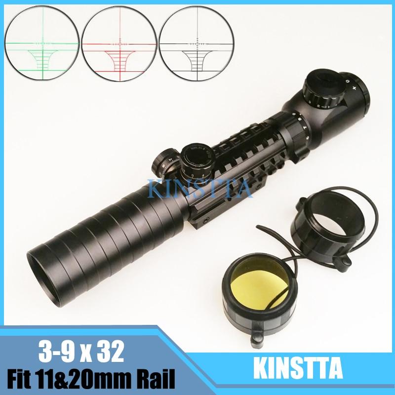 KINSTTA Tactical Optical Red&Green Illuminated Riflescope 3-9X32 EG Rifle Scope Fit 11&20mm Weaver Picatinny Rail For Hunting