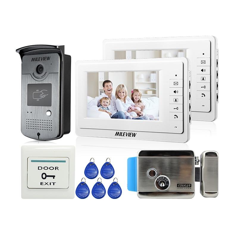 Brand New 7 Color LCD Video Door Phone Intercom Kit 2 White Screen RFID Access Camera