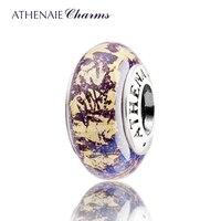 ATHENAIE Genuine Murano Glass 925 Silver Core Fantasy Purple With Gold Foil Charm Bead Fit European