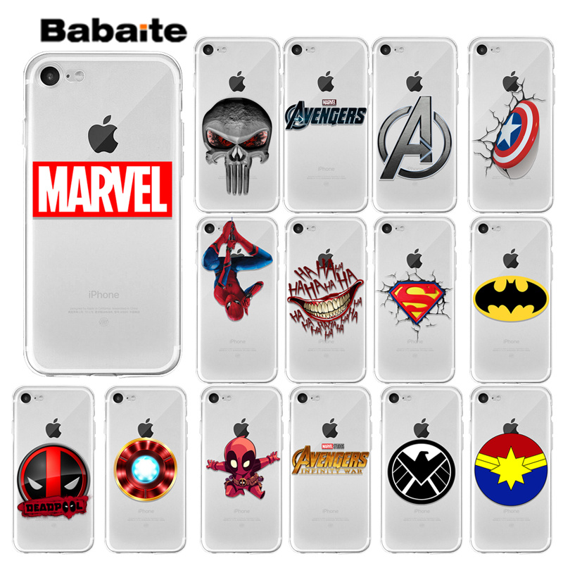 Babaite Marvel Avengers Captain America LOGO DIY Phone Accessories Case for Apple iPhone X XS MAX 8 7 6 6S Plus 5 5S SE XR Cover in Half wrapped Cases from Cellphones Telecommunications