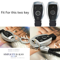 Silver Diamond Zinc Alloy Leather Car Key Cover Case Key Chain Keyring For Mercedes Benz W204