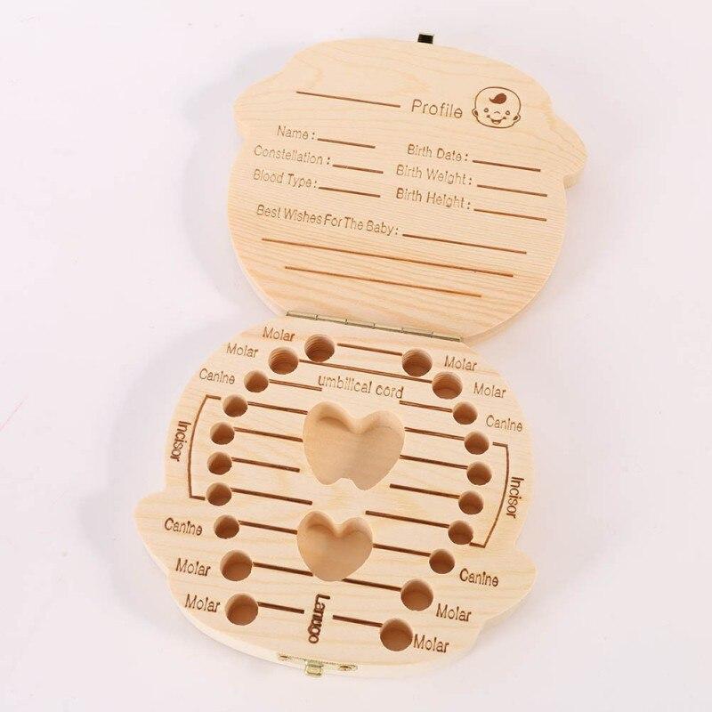 Зуб поле организатор детские сохранить молочные зубы ящик для хранения древесины для 3-6YEARS для мальчиков и девочек английский, испанский ...