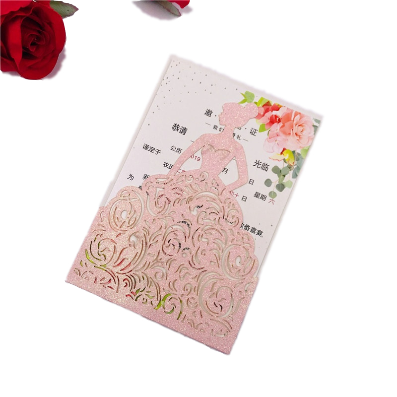 Red And Pink Wedding Invitations: 10pcs Gold/Silver/Rose Red/Pink Glitter Paper Princess