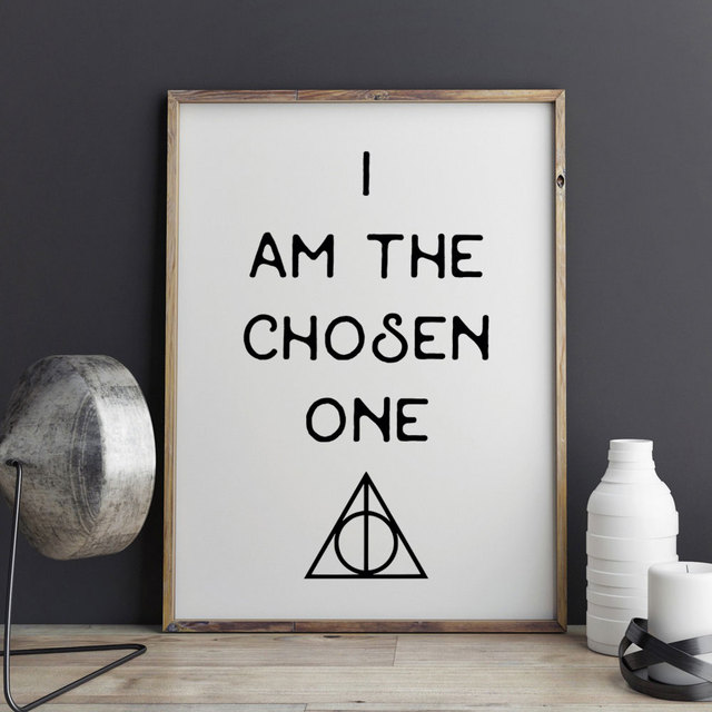 harry potter i am the chosen one art print painting wall art deathly hallows drawing quotes