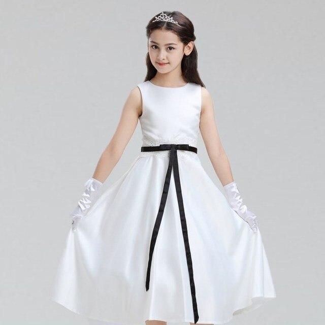 Elegant Gorgeous Satin Black Belt Angel Flower Kids S Piano Dresses Baby Agers Graduation Birthday Communion
